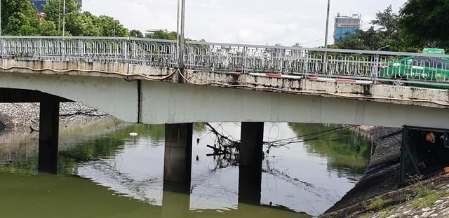 Sau bão số 3, sông Tô Lịch trong xanh nhưng nhiều rác trên bề mặt - Ảnh 6.