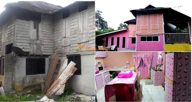 Cặp vợ chồng trung niên chơi trội khi cải tạo lại ngôi nhà cũ nát thành ngôi nhà Hello Kitty sến rện - Ảnh 1.