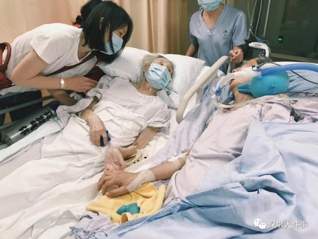 Rơi nước mắt cặp vợ chồng già nắm tay nhau lần cuối trong bệnh viện - Ảnh 1.