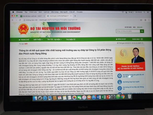 Thông tin kết quả quan trắc môi trường sau cháy Công ty Rạng Đông bất ngờ bị gỡ bỏ khỏi Cổng thông tin Bộ TN&MT - Ảnh 2.