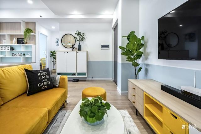 Căn hộ 65m² đẹp như nhà mẫu với điểm nhấn màu vàng và xanh mint của gia đình 3 người ở Quận 9, TP. HCM - Ảnh 3.