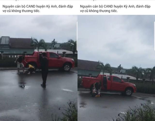 Làm rõ clip nguyên cán bộ công an ở Hà Tĩnh đánh vợ cũ dã man giữa đường - Ảnh 2.