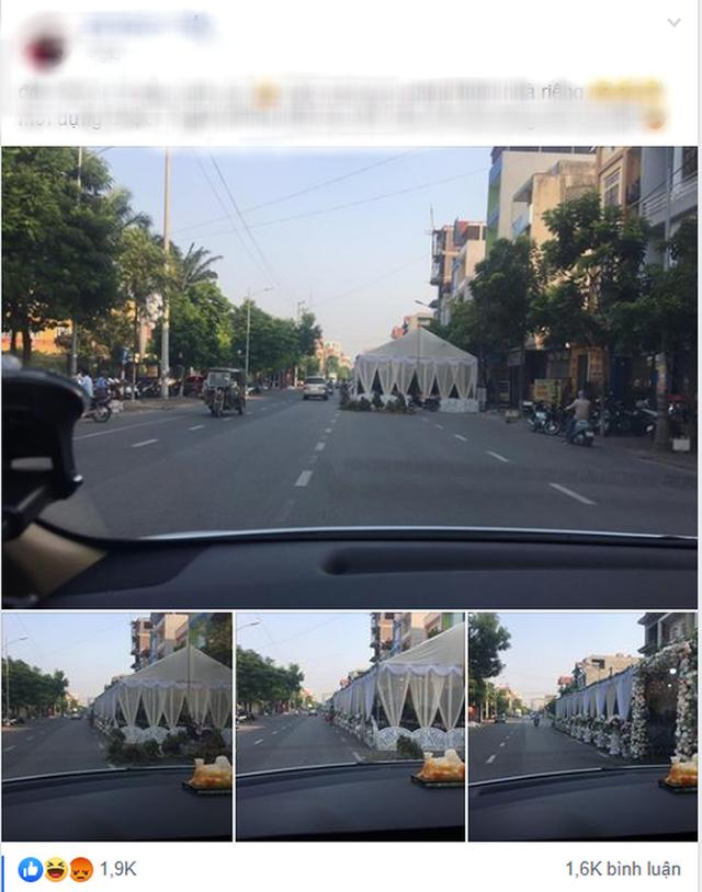 Xôn xao hình ảnh người dân dựng rạp đám cưới lấn chiếm cả nửa con đường ở Bắc Ninh - Ảnh 1.
