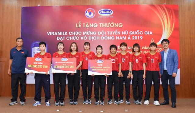 Vinamilk trao thưởng chúc mừng đội tuyển bóng đá nữ Quốc gia vô địch Đông Nam Á 2019 - Ảnh 1.