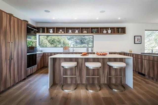 Ngôi nhà hiện đại được kiến trúc sư sử dụng tông màu đất khắp mọi nơi từ đá lát vách ngăn, bàn ăn, lan can và cầu thang - Ảnh 5.