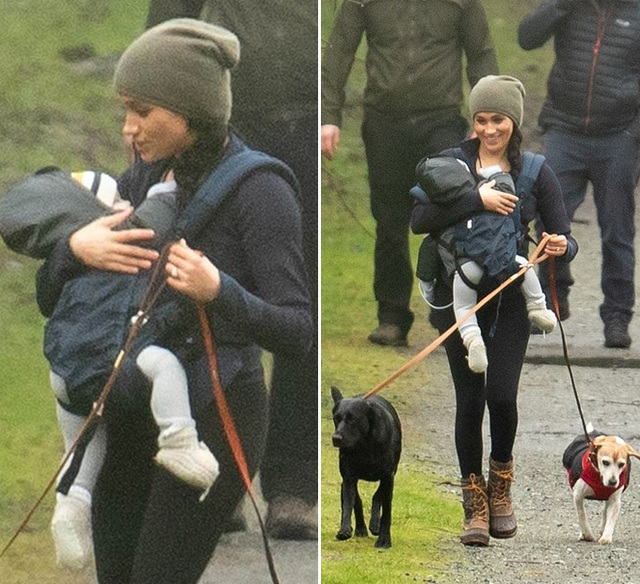 Meghan Markle tươi cười địu con, dắt chó đi dạo giữa những thị phi bao vây hoàng gia Anh - Ảnh 2.