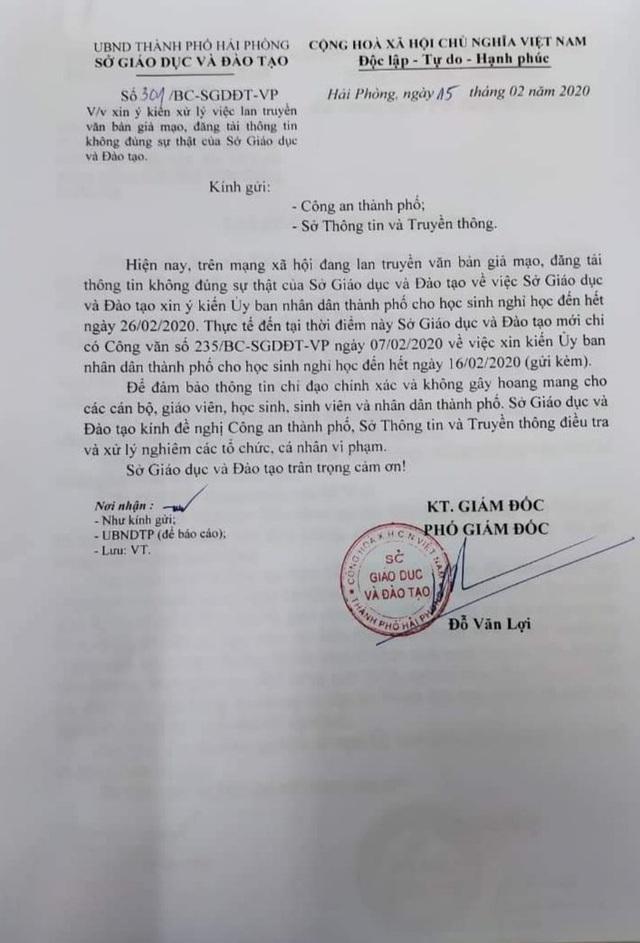 Hải Phòng: Lan truyền văn bản giả mạo cho học sinh nghỉ đến 26/02 vì dịch COVID-19 - Ảnh 3.