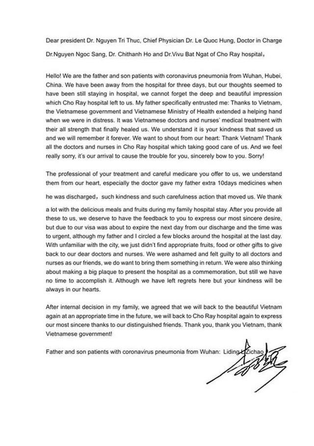 Xúc động lá thư cha con người Trung Quốc mắc COVID-19 gửi Bệnh viện Chợ Rẫy - Ảnh 4.