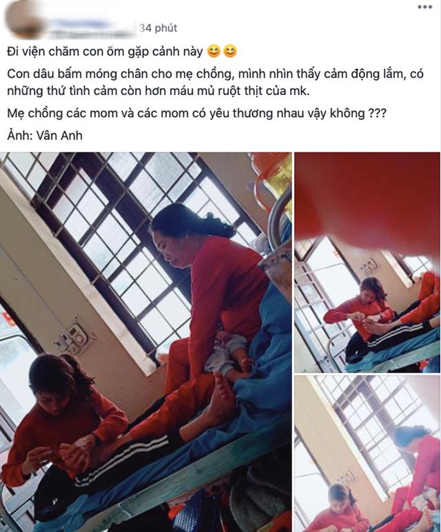 Hình ảnh con dâu cần mẫn ngồi cắt móng chân cho mẹ chồng trên giường bệnh khiến nhiều người xúc động - Ảnh 1.