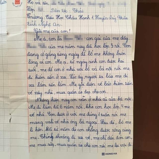 Sự thật về lá thư của học sinh lớp 5 đang gây bão mạng Con mong mẹ hiểu, mẹ còn đứa con gái đang sống cùng bà nội - Ảnh 1.