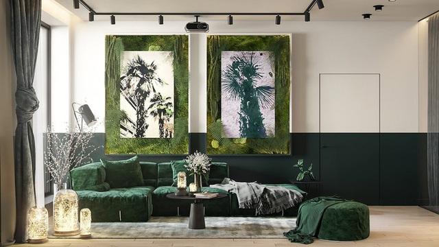 Căn hộ gây ấn tượng mạnh mẽ khi gia chủ dùng nội thất màu xanh lá cây - Ảnh 1.