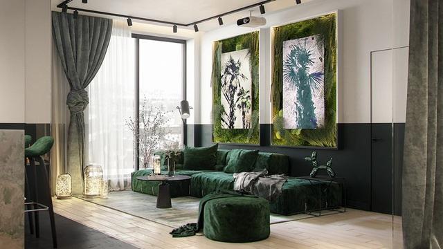 Căn hộ gây ấn tượng mạnh mẽ khi gia chủ dùng nội thất màu xanh lá cây - Ảnh 2.