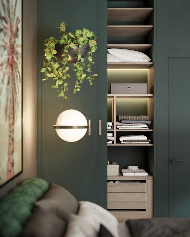 Căn hộ gây ấn tượng mạnh mẽ khi gia chủ dùng nội thất màu xanh lá cây - Ảnh 8.
