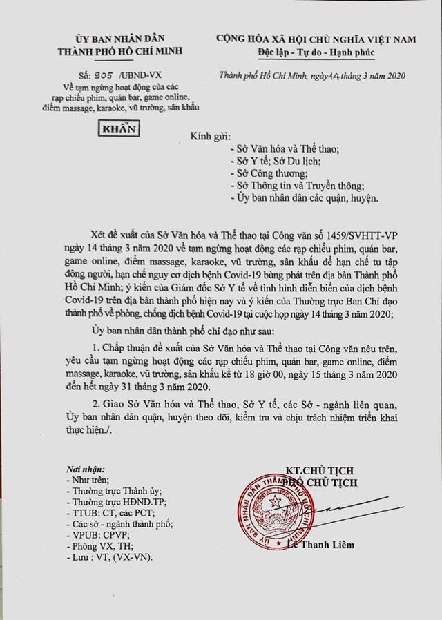TP Hồ Chí Minh tạm ngừng hoạt động rạp chiếu phim, quán bar, karaoke - Ảnh 2.