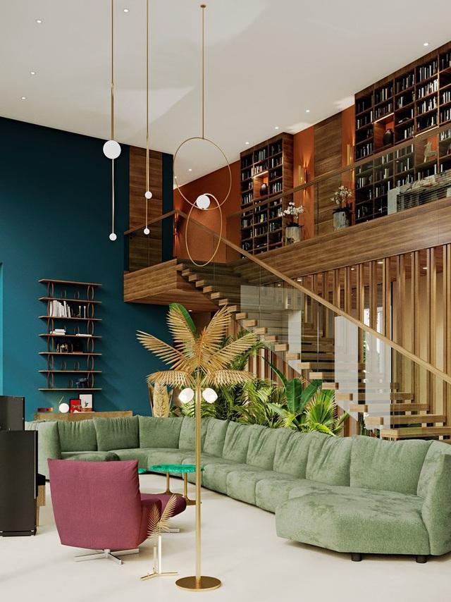 Ngôi nhà rộng rãi gây ấn tượng khi sử dụng tầng lửng làm phòng đọc - Ảnh 1.