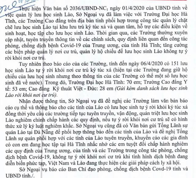 151 lưu học sinh Lào ở Hà Tĩnh tự ý rời khỏi ký túc xá - Ảnh 4.