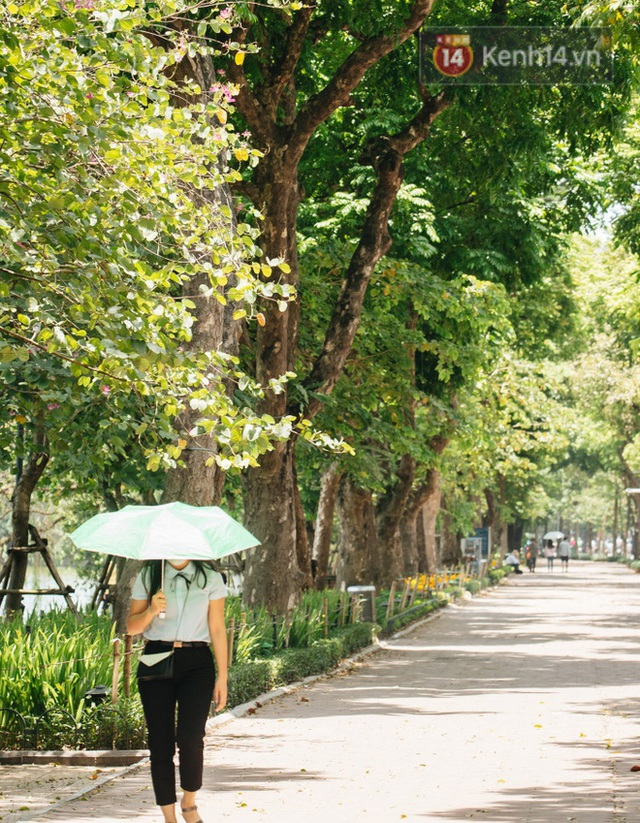 Nhiệt độ ngoài đường tại Hà Nội lên tới 50 độ C, người dân trùm khăn áo kín mít di chuyển trên phố - Ảnh 6.