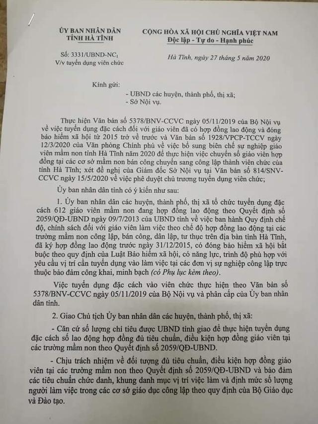 Hà Tĩnh: Tuyển dụng đặc cách 612 giáo viên hợp đồng lâu năm  - Ảnh 2.