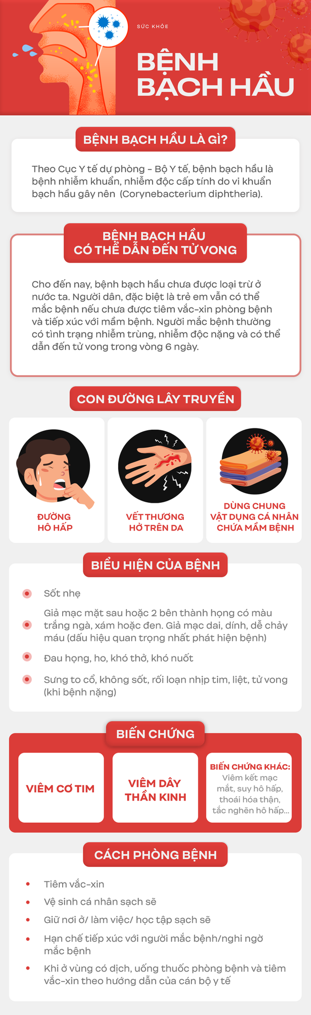 Dịch bạch hầu tại Đắk Nông khiến 1 trẻ tử vong và hơn 1 ngàn người phải cách ly: Biến chứng của bệnh bạch hầu rất nguy hiểm - Ảnh 3.