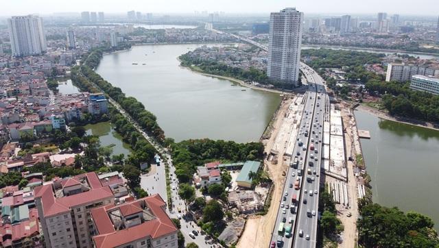 Cầu vượt thấp qua hồ Linh Đàm sắp hoàn thiện khiến hàng vạn cư dân vui mừng - Ảnh 11.