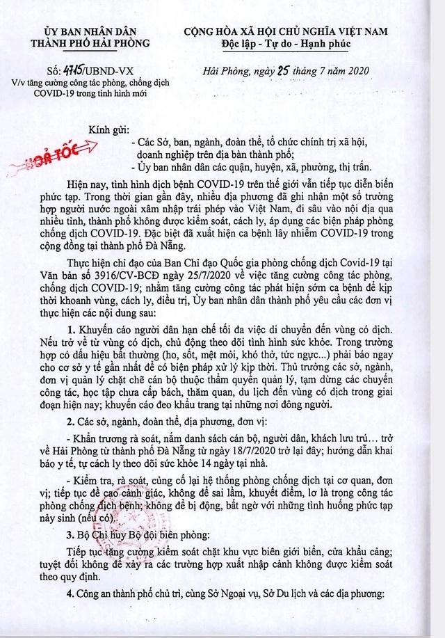 Hải Phòng: Cách ly tại nhà những trường hợp trở về từ Đà Nẵng  - Ảnh 1.