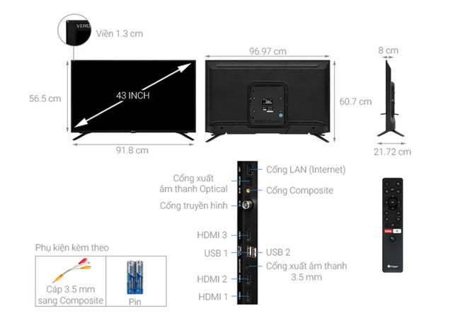 Top 5 mẫu TV thông minh 43 inch giá rẻ dưới 6 triệu - Ảnh 1.