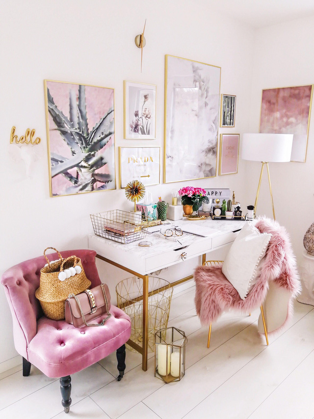 Những ý tưởng trang trí góc làm việc màu hồng ngọt ngào và mát lạnh dành cho các cô nàng đổi gió trong hè - Ảnh 13.