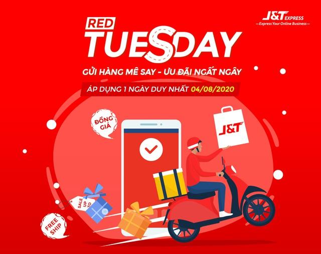 """Chuyển phát nhanh J&T Express tung siêu khuyến mãi ngày """"Red Tuesday"""" 4-8 - Ảnh 1."""