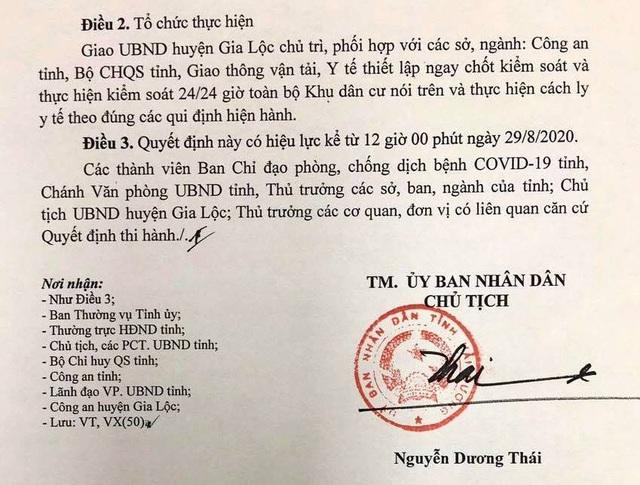 Từ 12h trưa nay, tỉnh Hải Dương thiết lập cách ly y tế một cụm dân cư tại huyện Gia Lộc - Ảnh 4.
