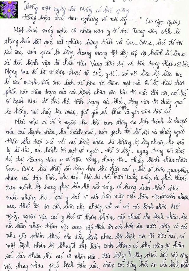 Tâm thư đẫm nước mắt của bệnh nhân khỏi COVID-19 gửi đội ngũ thầy thuốc ở Đà Nẵng - Ảnh 3.