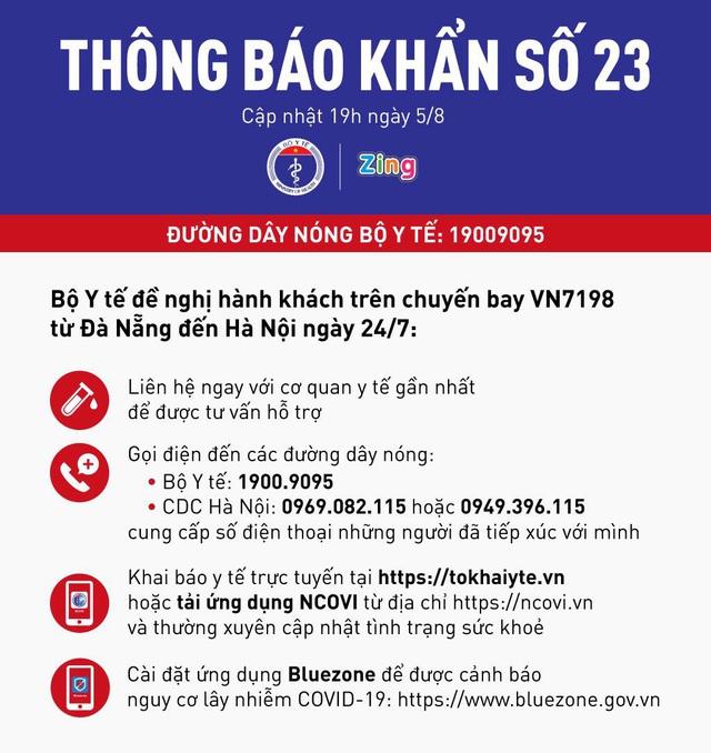Khẩn cấp tìm người trên chuyến bay VN7198 từ Đà Nẵng về Hà Nội vì có nhiều khách mắc COVID-19 - Ảnh 2.