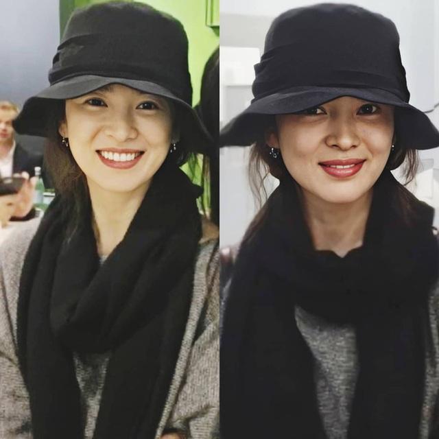 Nhan sắc của Song Hye Kyo xuất chúng đến nỗi cân đẹp mọi kiểu mũ dù sến hay lỗi thời tới đâu - Ảnh 1.