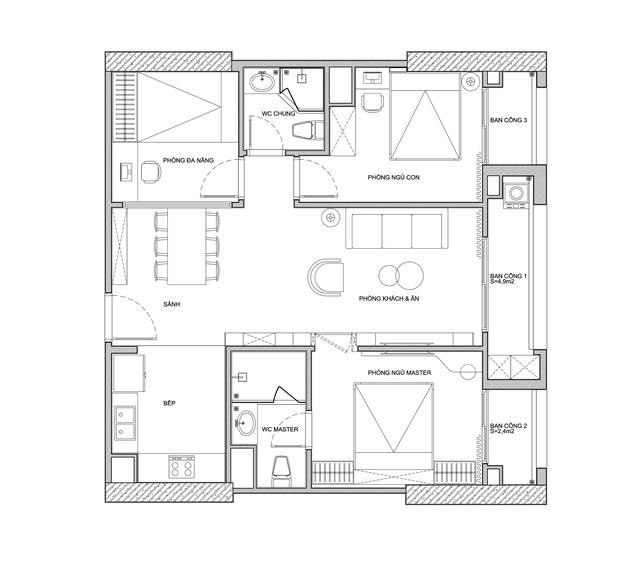 Căn hộ 96m² tối ưu hóa công năng dành cho vợ chồng trẻ lười dọn nhà có chi phí hoàn thiện 400 triệu đồng ở Hà Nội - Ảnh 3.