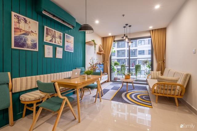 Căn hộ 54m² đẹp cuốn hút với gam màu xanh gần gũi với thiên nhiên có chi phí hoàn thiện nội thất 150 triệu đồng ở Hà Nội - Ảnh 11.