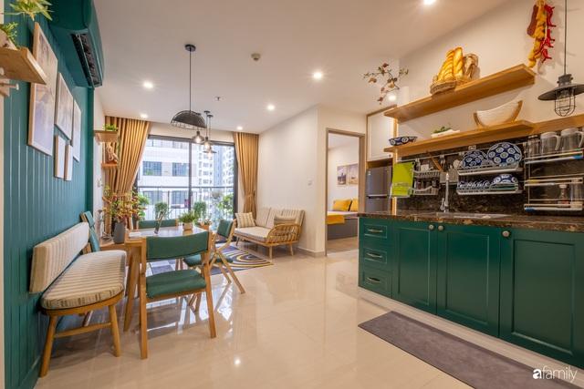 Căn hộ 54m² đẹp cuốn hút với gam màu xanh gần gũi với thiên nhiên có chi phí hoàn thiện nội thất 150 triệu đồng ở Hà Nội - Ảnh 6.