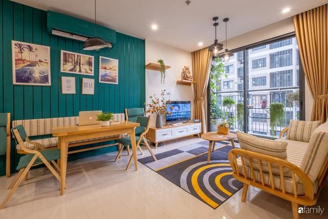 Căn hộ 54m² đẹp cuốn hút với gam màu xanh gần gũi với thiên nhiên có chi phí hoàn thiện nội thất 150 triệu đồng ở Hà Nội - Ảnh 8.
