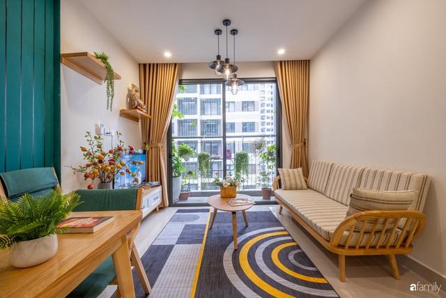 Căn hộ 54m² đẹp cuốn hút với gam màu xanh gần gũi với thiên nhiên có chi phí hoàn thiện nội thất 150 triệu đồng ở Hà Nội - Ảnh 9.