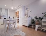 Căn hộ 70m² trên tầng 33 đẹp hút hồn với thiết kế gạch sàn bếp hình lục giác độc đáo