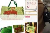 Cửa hàng Nhật bán túi xách bao bì cám heo in chữ Việt