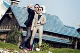 Vợ chồng Lệ Quyên ôm ấp nhau ở phim trường đồ sộ nhất miền Bắc