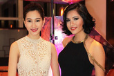Đặng Thu Thảo mặc váy ren xuyên thấu gợi cảm bên Á hậu Hoàng My