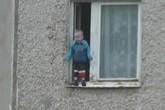 Bé trai đứng trên thành cửa sổ tầng 8 gây thót tim