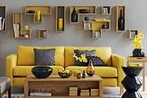 Phòng khách hiện đại và sang trọng tuyệt đối với bộ đôi vàng – xám