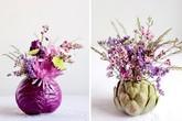 Cắm hoa vào bắp cải, vừa đẹp vừa độc đáo