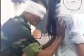Xôn xao clip thầy dạy quân sự bịt mắt sờ nữ sinh