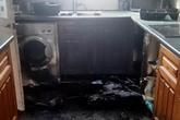 Máy rửa bát phát nổ khiến căn nhà cháy đen