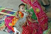 Hình ảnh người phụ nữ cho con và hươu cùng bú sữa gây sốc
