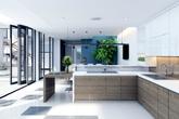 Căn bếp hiện đại tràn ngập ánh sáng