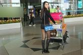 'Gái nhảy' Minh Thư diện quần short ngắn cũn ra sân bay