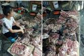 Khởi tố, bắt khẩn cấp 2 người phụ nữ tạt dầu luyn trộn chất thải vào quầy thịt lợn giá rẻ
